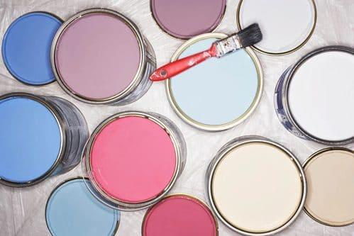 paint can lids with different paint colours