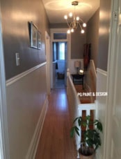 entrance hallway corridor interior painting of two tones paint colours in Ottawa's Little Italy and Preston Street area