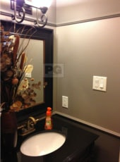 painting of bathroom powder room with 3 shades of gray paint colour by PG PAINT & DESIGN painting company in Ottawa, ON