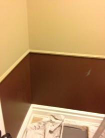Before and After photos of powder room/bathroom painting in Stittsville