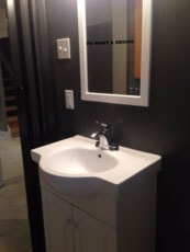 interior painting of bathroom with dark gray paint colour by PG PAINT & DESIGN Ottawa House Painters