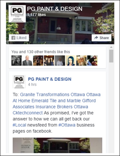 Facebook Page for PG PAINT & DESIGN Ottawa Painters