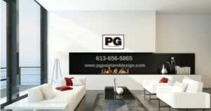 Interior of modern living room in condo unit with white couch and PG Paint & Design logo