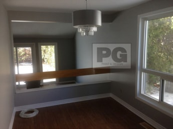 interior painting of a townhouse living room in Ottawa in gray paint colours by PG PAINT & DESIGN painters