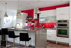 red paint colour on wall of kitchen