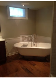 interior painting of bathroom in revere pewter paint colour by painters in Ottawa PG PAINT & DESIGN