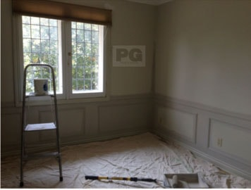 interior painting of master bedroom with wainscotting by PG PAINT & DESIGN Ottawa Painters