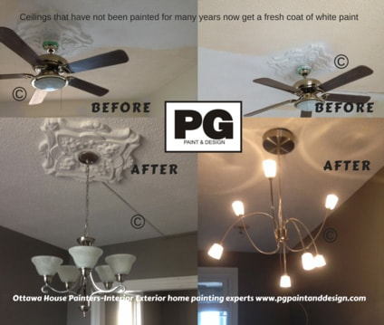 before and after view of repaired ceiling