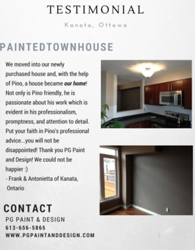 house painting service testimonial from a client of PG Paint and Design painting company