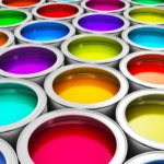 paint cans with rainbow coloured paint colours