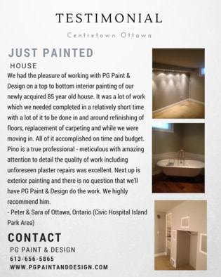 testimonial of a client in centretown Ottawa with picture of the painted house interior