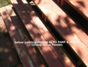 wood deck with peeled paint which painters in Ottawa PG Paint & Design will sand before painting