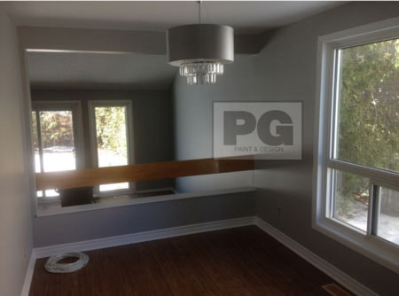 interior painting of room in neutral gray paint colour by Ottawa painters PG PAINT & DESIGN