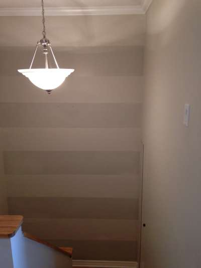 Stripes Painted On Wall in Dark and Light Gray Paint by PG PAINT & DESIGN Ottawa House Painters