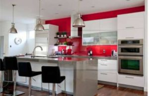 red painted wall in kitchen of ottawa home by painters PG Paint & Design