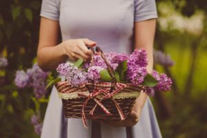 lady holding purple coloured flowers, picking paint colours for your house painting