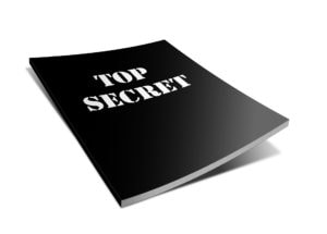 shows black notebook marked top secret for painters tips on painting success