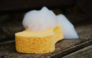 yellow sponge to clean the ceiling or walls