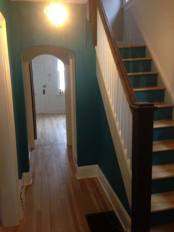 interior painting of hallway and stairs in ottawa by painters PG PAINT