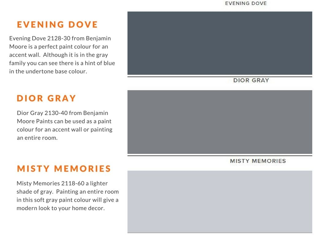 paint colours evening dove, dior gray and mistry memories from benjamin moore paints for interior painting of any room in the house