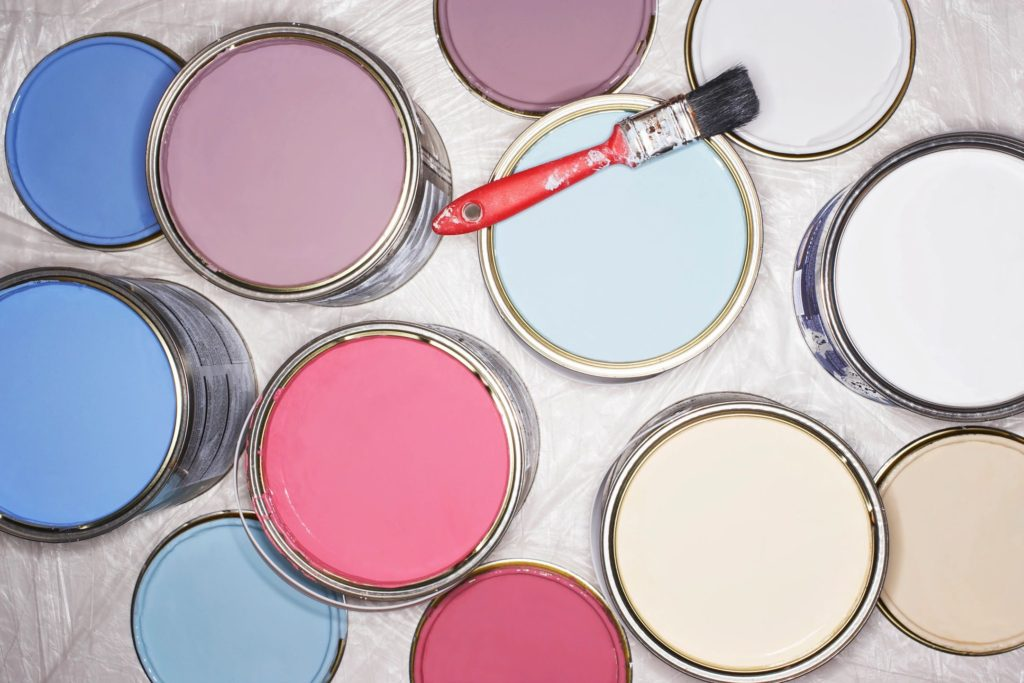 quart of paint as sample for painting walls