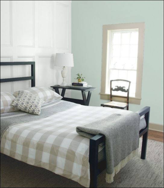 paint colour palladian blue from benjamin moore paints used in painting of bedroom by painters in ottawa