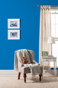 blue paint colour on walls of nursery baby room