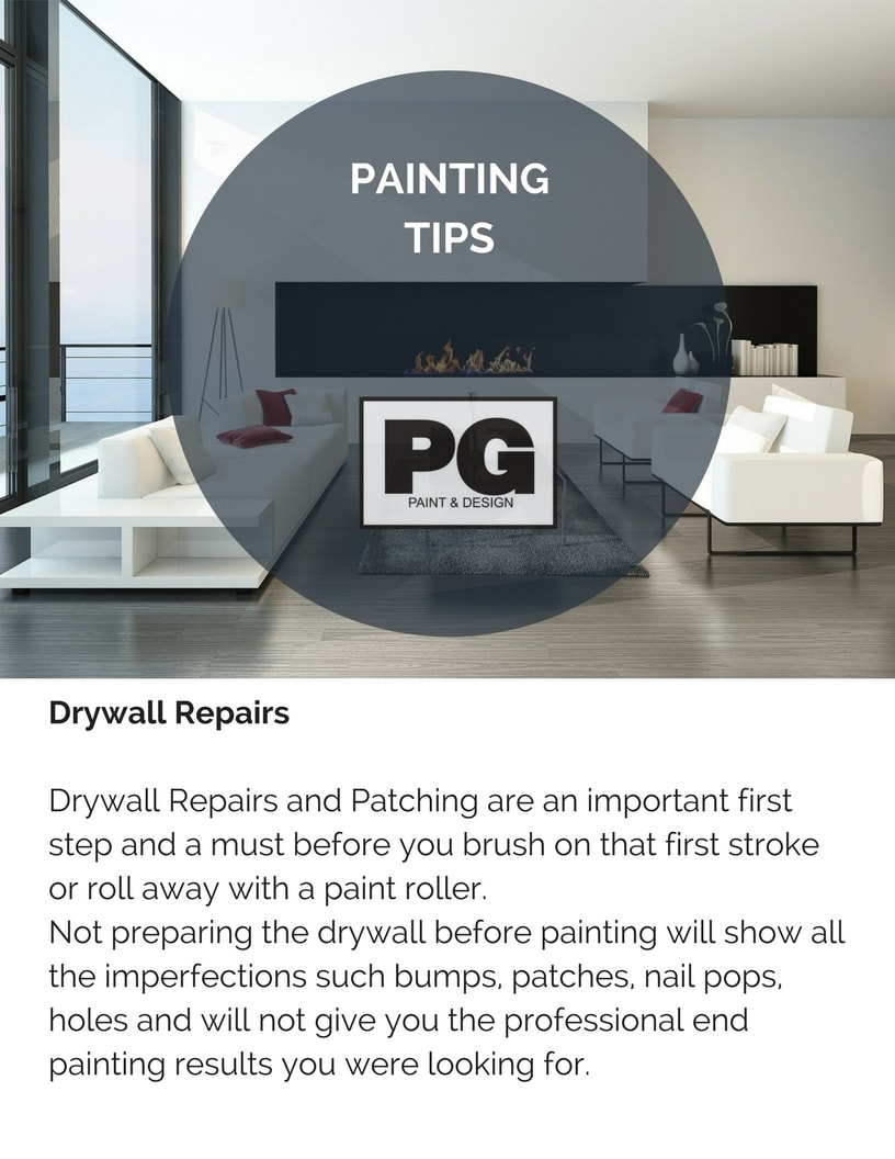 drywall repairs and patching before painting tips by painters in Ottawa PG Paint & Design
