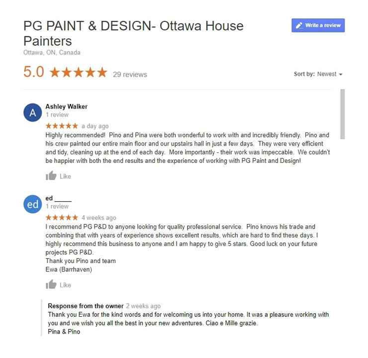 Reviews for Painting Contractor Company in Ottawa Canada PG PAINT & DESIGN