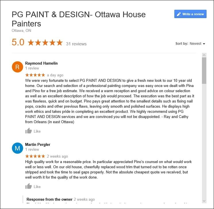 best rated five star reviews for painters in Ottawa PG Paint & Design