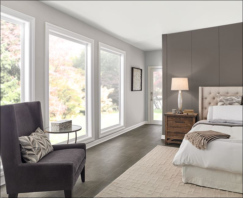 dark gray and light gray paint colours used in painting of bedroom by painters in Ottawa PG PAINT & DESIGN