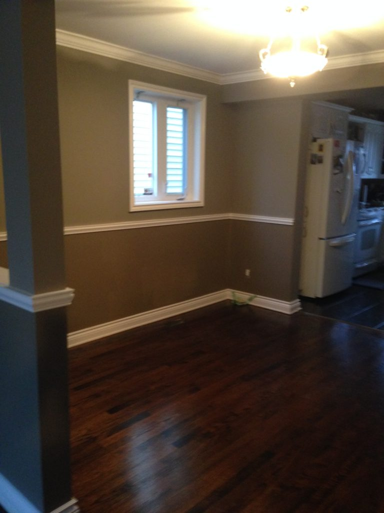 interior painting of a room in light and dark gray paint colours by PG PAINT & DESIGN Ottawa painters