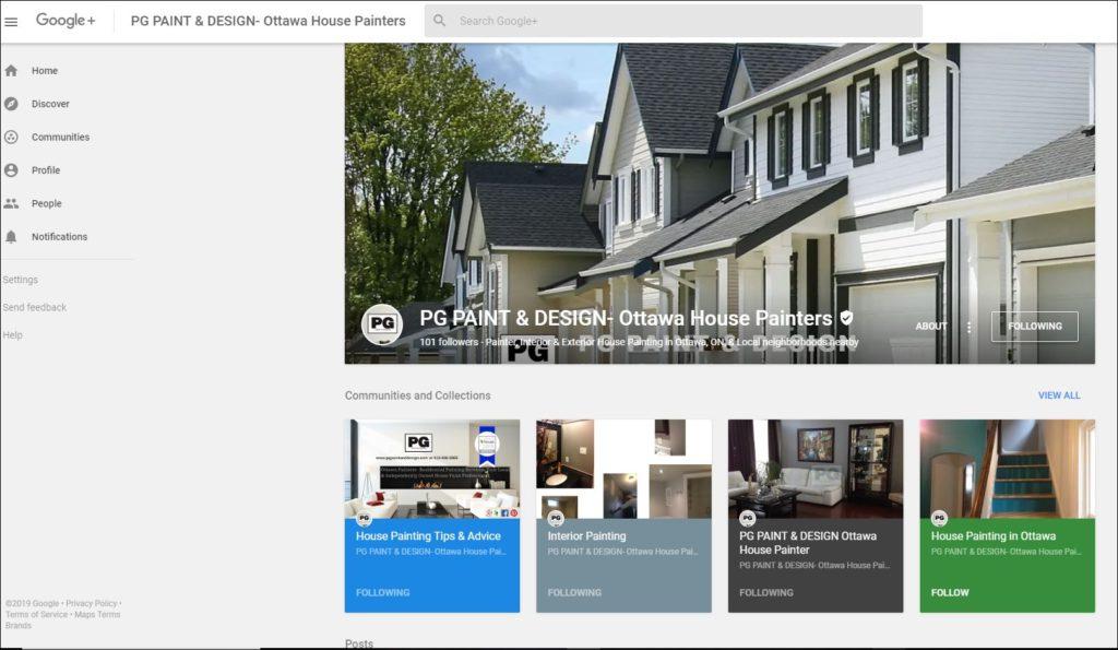 google plus business page for PG PAINT & DESIGN Ottawa House Painters