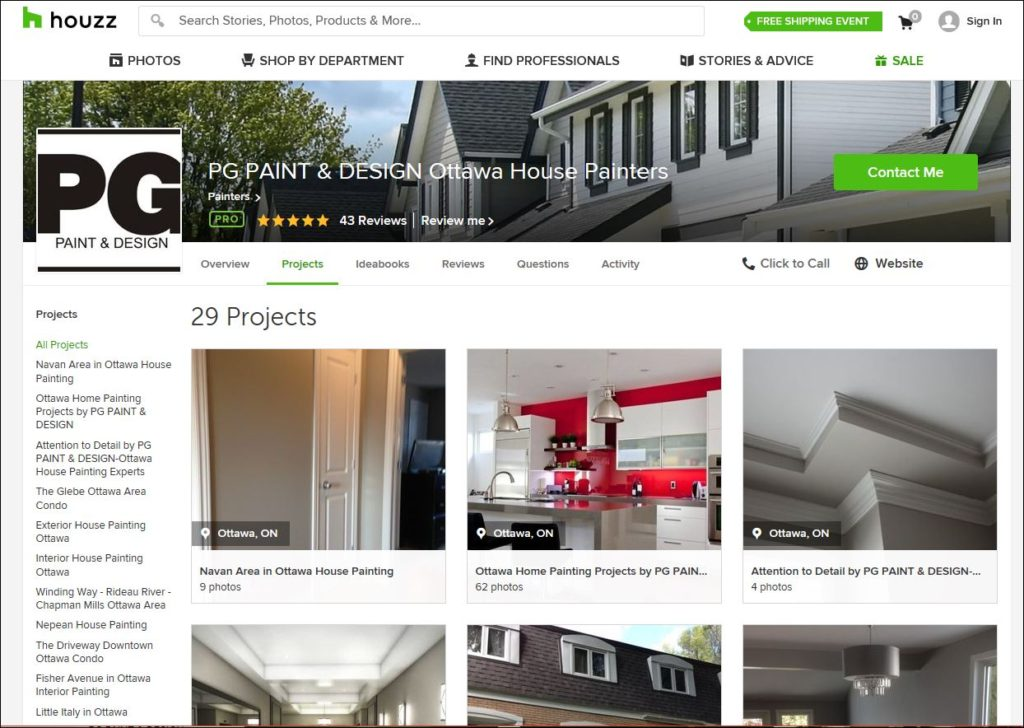 Houzz page for PG PAINT & DESIGN Ottawa House Painters