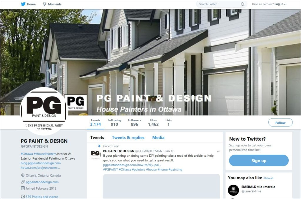 twitter feed for PG PAINT & DESIGN Ottawa House Painters
