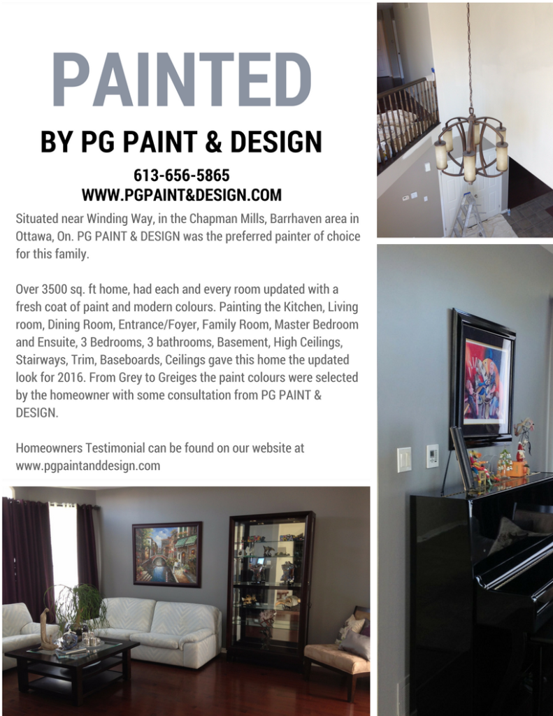 painting in Nepean, Ottawa, Ontario by PG PAINT & DESIGN Painters