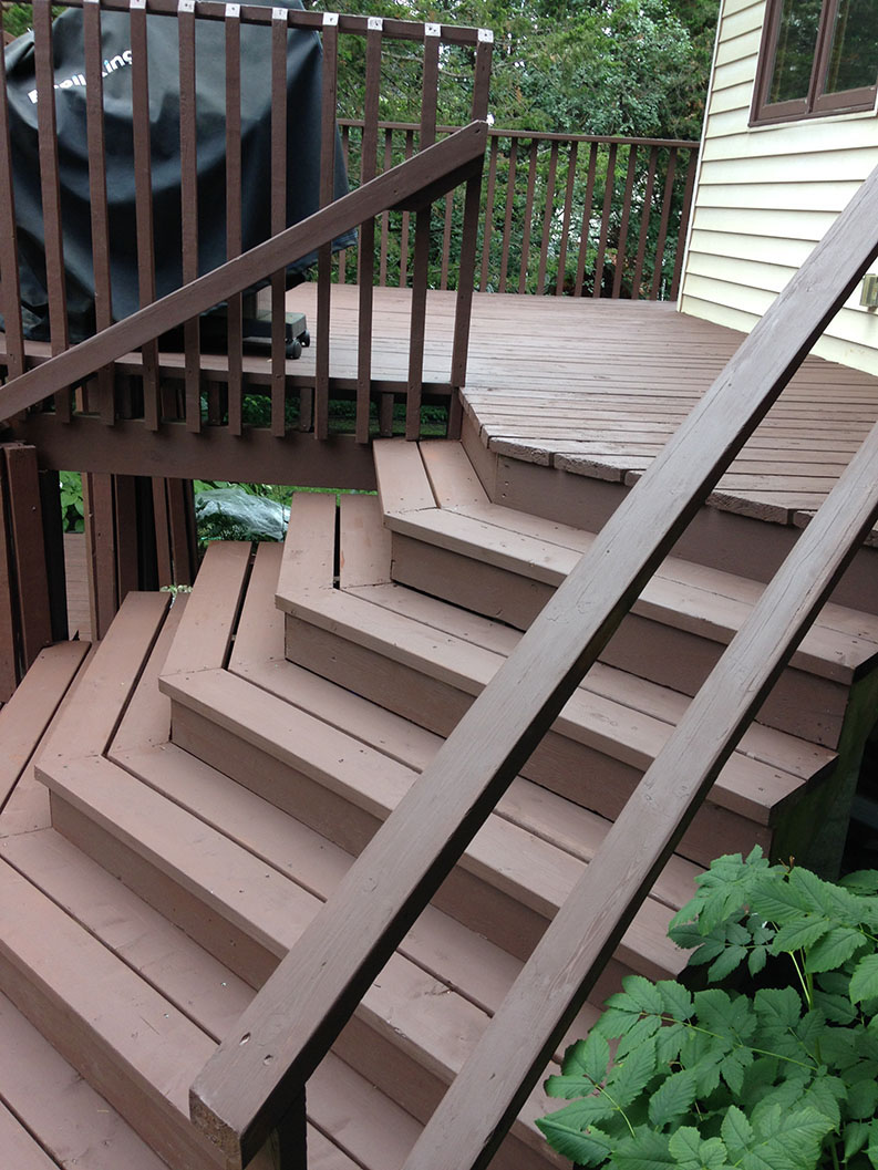 exterior painting of wood deck and stairs painted by PG PAINT DESIGN