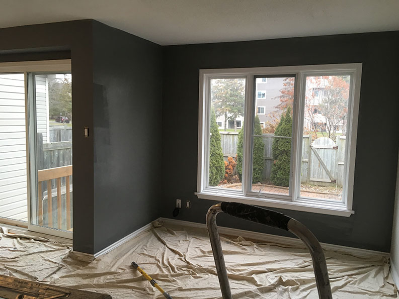 accent walls painting in progress at residential property by PG PAINT DESIGN