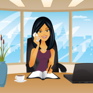 an illustration of customer care executive of PG PAINT & DESIGN