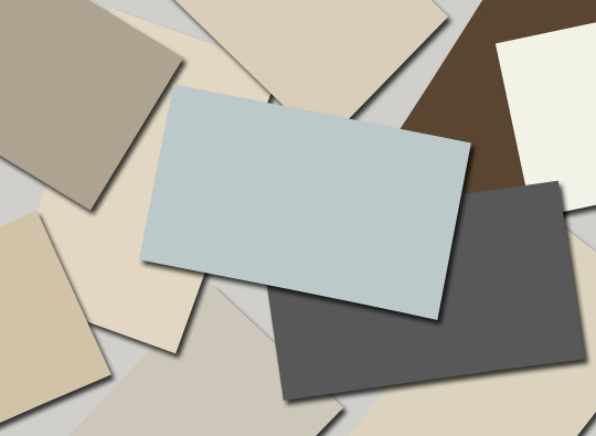 paint colour samples in beiges grays and browns