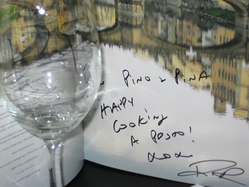 book and a glass signed by David Rocco