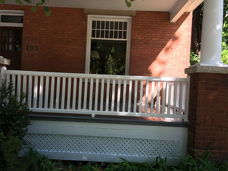 exterior painting of front veranda of house in the Glebe Ottawa