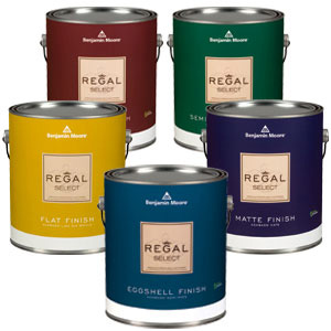 five Regal paint buckets in various colours from Benjamin Moore line used by PG PAINT & DESIGN painters