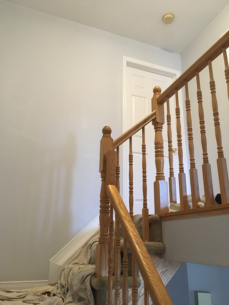interior stairwell in a hallway painted in brown colour
