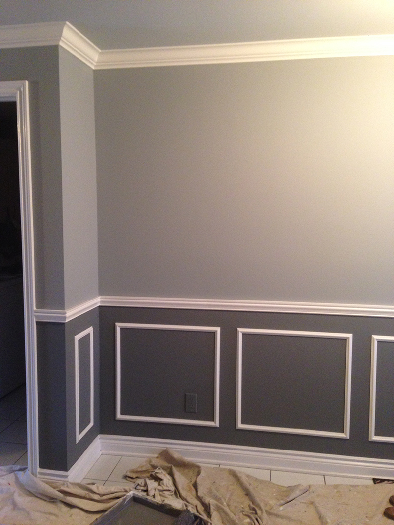 light gray and dark gray painting of walls with white paint on trim and baseboards painted by PG PAINT & DESIGN