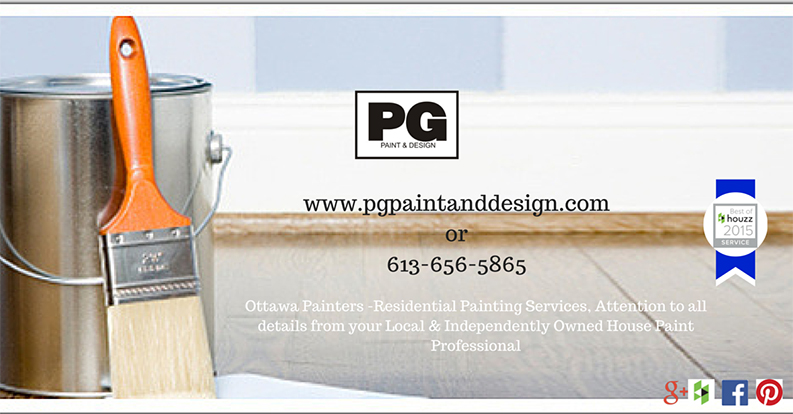paint brush and tin can with contact information of PG PAINT & DESIGN