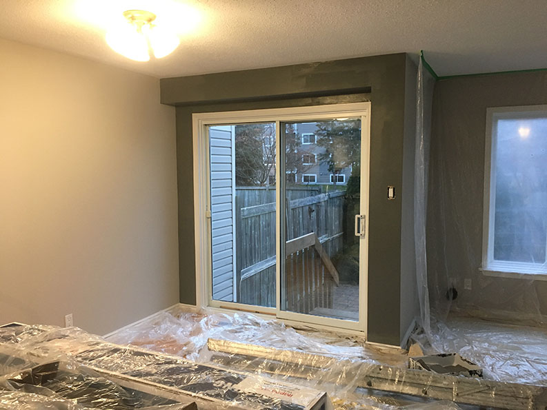 painting of accent walls in progress