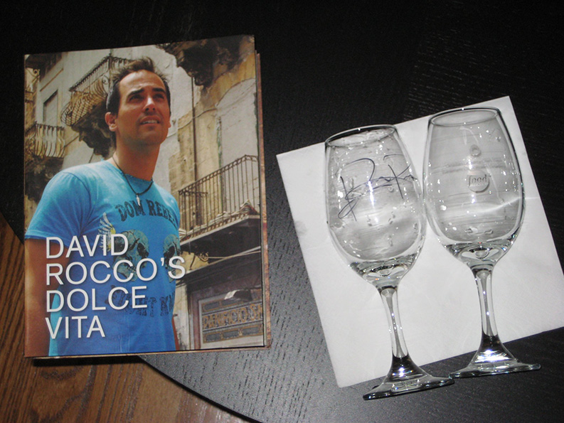 pair of glasses and book signed by David Rocco