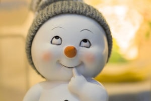 thinking snowman figure