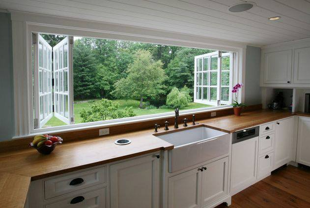 view of a garden from inside a house kitchen